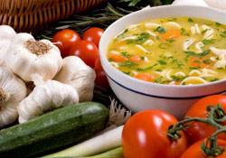Recette : soupe de légumes et eau minérale